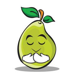praying face pear character cartoon vector image vector image