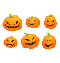 set of gradient elements pumpkin face for vector image