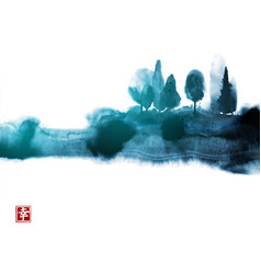 Stylized ink wash painting with blue misty forest vector
