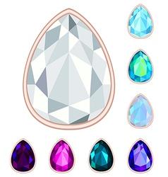 teardrop gemstone set vector image