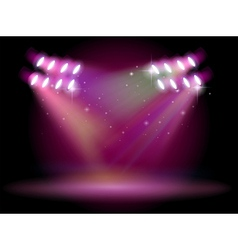 An empty stage with spotlights vector image