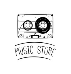 audio cassette tape icon music store logo vector image