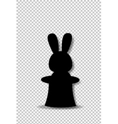 black silhouette of rabbit sitting in the magic vector image