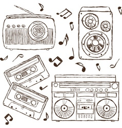 Collection of retro music hand-drawn vector image