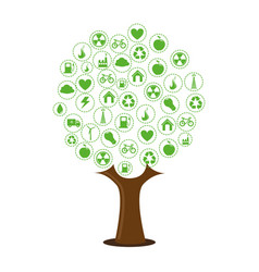 color tree with environment of recycle and ecology vector image