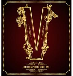 Calligraphic font Letter V vector image