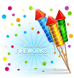 festive background with firecrackers and confetti vector image