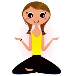 Lady sitting in yoga lotus pose vector image