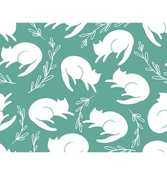 Seamless pattern with cats and a grass on vector image