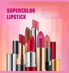 set of lipsticks for ads vector image