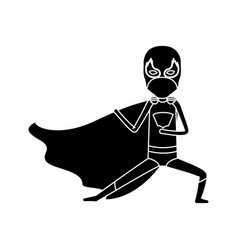 Silhouette black full body superhero male with leg vector