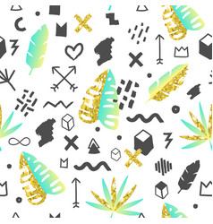 tropical abstract seamless pattern memphis vector image vector image