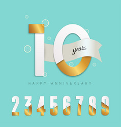 10 years anniversary emblem set numbers vector