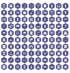 100 library icons hexagon purple vector image