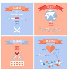 26 june international day against drug abuse set vector image