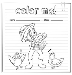 A worksheet with a farmer vector image