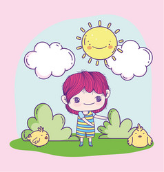 Anime cute boy and chickens in grass vector
