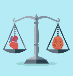 balance between mind and heart concept vector image