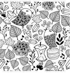 black and white endless wallpaper with cute birds vector image vector image