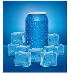Blue aluminum tin cans in ice cubes vector