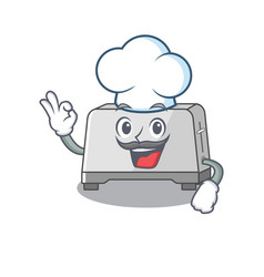 Bread toaster cartoon character working as a chef vector