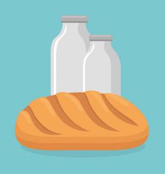 bread with milk bottles vector image