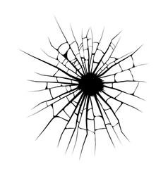 broken window cracks hole design isolated on vector image