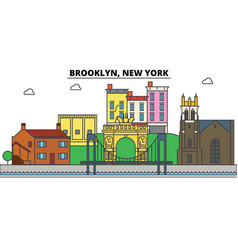 Brooklyn new york city skyline architecture vector