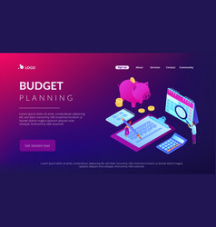 budget planning isometric 3d landing page vector image