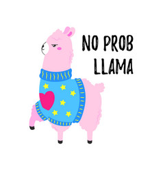 cartoon card cute poster with funny llama vector image