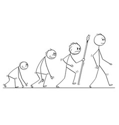 cartoon of human evolution process progress vector image