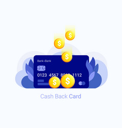 cash back concept credit card with coin money vector image