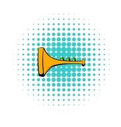 Children plastic trumpet icon comics style vector