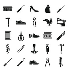 Classic shoe repair icons set simple style vector