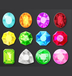 Colored gems diamonds set isolated vector