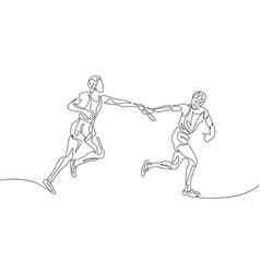 Continuous one line drawing relay race runner vector