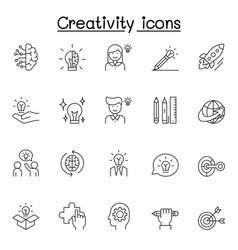 creative icons set in thin line style vector image