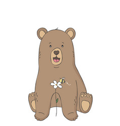 cute bear and bee on flower woodland animal vector image