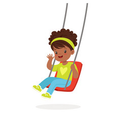 Cute little girl playing swing kid have a fun on vector