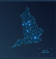England map with cities luminous dots - neon vector
