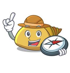 Explorer mollusk shell mascot cartoon vector