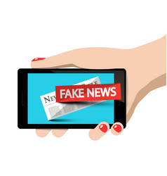 Fake news symbol on mobile phone in woman hand vector