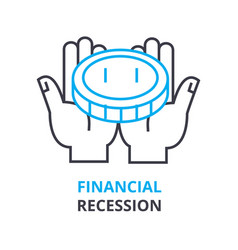 Financial recession concept outline icon linear vector