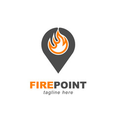 fire with pin point locator symbol logo design vector image