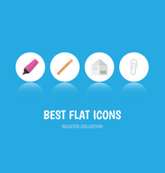 flat icon equipment set of letter marker vector image