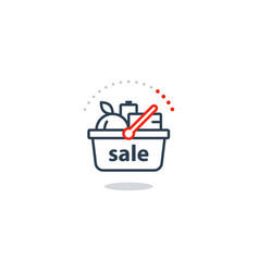 Food basket grocery order shop sale special offer vector