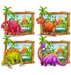 Four dinosaurs in wooden frame vector