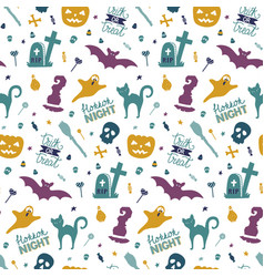 funny hand drawn seamless pattern for halloween vector image