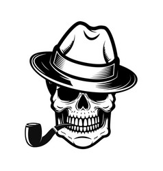 gentleman skull with smoking pipe design element vector image
