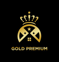 gold premium home logo vector image